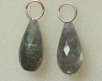 AAA 8x16mm Flashy Labradorite Drops INTERCHANGEABLE Hooplet Earring Charms YG