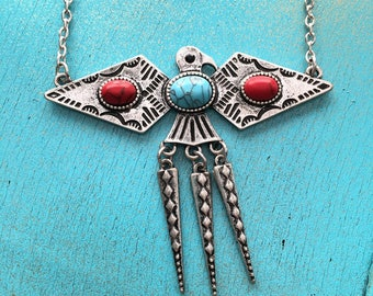 Thunderbird Necklace, Native American Inspired Necklace, Turquoise Necklace, Tribal Necklace, Native American Inspired Jewelry, Southwest