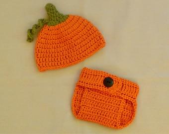 Pumpkin hat, crocheted pumpkin hat, pumpkin costume, pumpkin photo prop, baby hat, pumpkin baby hat