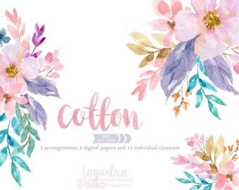 Floral Clipart Watercolor, Flowers PNG, wedding, bouquet, arrangement, digital art, pink blue flowers, bridal shower, for blog banner