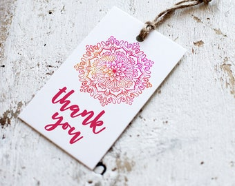 Printable Mandala Thank You Tags | Shower Favor Tag | Instant Download PDF | Printable Favor Tags | Thank You Tag | Pink Mandala Thank You
