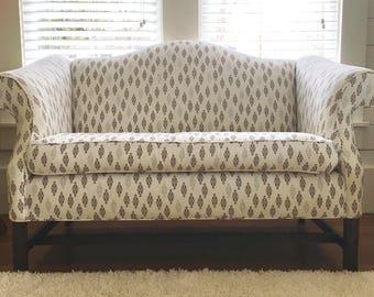 Vintage Camel Back Chippendale Loveseat Sofa, Reupholstered Vintage, Bohemian Furniture, DwellStudio, Dwell Studio Cotton Fabric