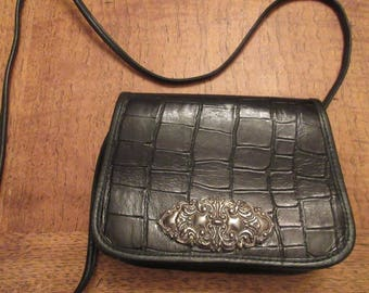 Vintage 1980's Black Leather Western Style Handbag MADE IN USA By 'Zippi' - Lovely!!