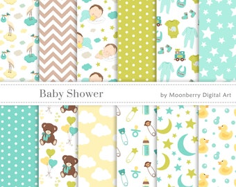 """Baby Shower Digital Papers. """"BABY SHOWER"""". Baby Boy. Birth Announcement. Baby Shower Invitation. Banners. Teddy Bear. Baby. Commercial Use"""