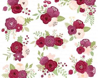 "Marsala Flower Clipart "" FLORAL POSIES CLIPART "" Wedding Floral Clipart. Wedding. Bridal Baby Shower. Wedding Invitation. Marsala Flowers."