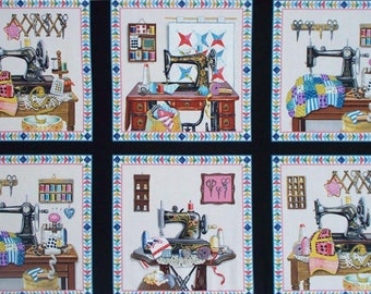 "Stitch In Time cotton panel -- approximately 23""x44"""