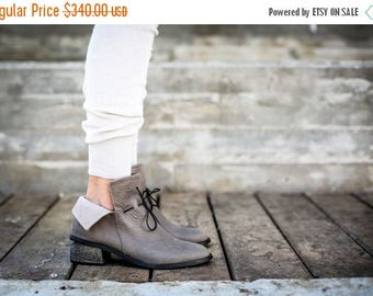 SALE Leather Boots, Grey Boots, Handmade Boots, Ankle Boots, Grey Booties, Heeled Boots, Lace Boots, Slouch Boots, Leather Shoes, Lucia