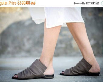SALE New! Leather Sandals, Grey Sandals, Handmade Sandals, Flat Summer Shoes, Slide Sandals, Grey Greek Sandals, Romy