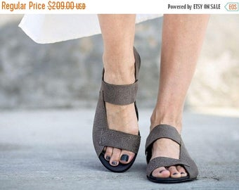 SALE Strappy Sandals, Grey Sandals, Leather Sandals, Grey Slingbacks, Summer Shoes, Summer Flats, Slip On Sandals, Rocco