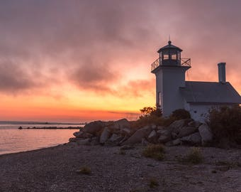 Lighthouse Photography, Bristol Harbor Light, Bristol Rhode Island, Sunset