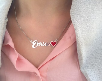 Necklace entirely in 925 silver with name and enamelled heart