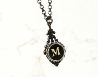 Typewriter Key Necklace, Personalized Initial Necklace with a Letter M, Gift for Her, Typography Jewelry.