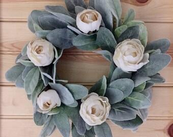 Farmhouse Faux Lambs Ear and Peony Wreath   Spring Wreath   Small Wreath    Fixer Upper Style