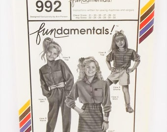 Vintage 1990 Stretch Sew Pattern 992 Children's Fundamental Chest Sizes 21 to 31 Hip Sizes 22 to 32