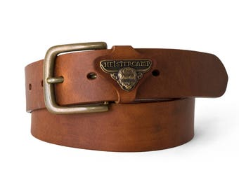 "PERRANPORTH - Handmade Leather Belt [1.5"" wide]"