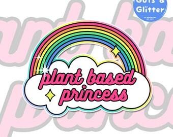 Plant Based Princess, Vegan Holographic Sticker