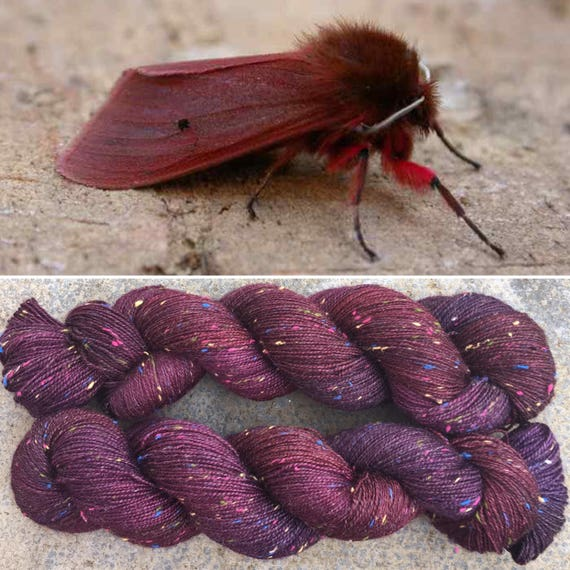 Ruby Tiger Moth Multicolour Donegal Sock, 4ply merino yarn with rainbow neps