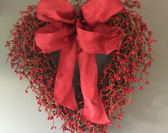 Valentines red pip berry door wreath, red winter wreath, valentines gift, winter door wreath. Valentines decor