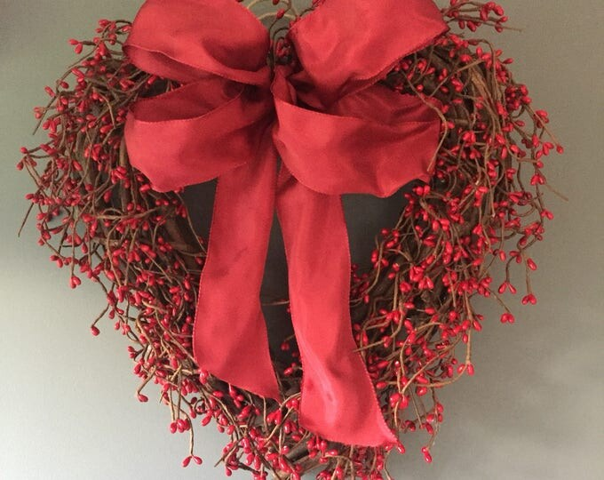 Featured listing image: Valentines red pip berry door wreath, red winter wreath, valentines gift, winter door wreath. Valentines decor