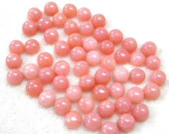5 pieces 9mm Pink Opal Cabochon Round Gemstone, Natural PINK OPAL Round cabochon Gemstone, AAA++ Quality, Pink Opal Cabochon Round Gemstone