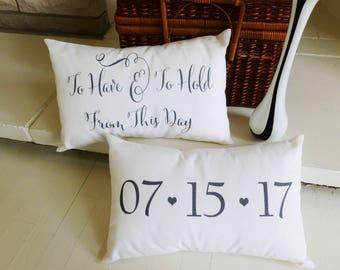 Unique Wedding Gift, Wedding Date Pillow, Personalized Wedding Gift, Wedding Day Gifts
