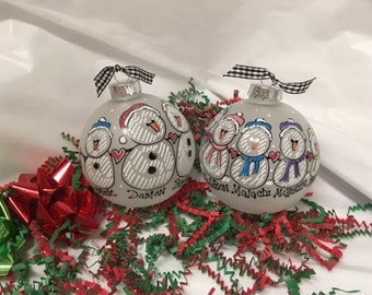 Snow People Personalized Christmas Ornament Snowman Couple Just MARRIED