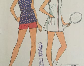 Simplicity 6398 Vintage 70s Sewing Pattern , 1970s Misses' Jiffy Short Tennis Dress or Top and Shorts, Size 12 - Bust 34