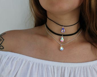 Moon Beam - Mythical Iridescent Aura Crystal Teardrop Choker Necklace