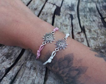 Sun Charm Adjustable Boho Cord Bracelet Pink White