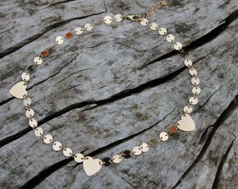 Gold Triple Heart Coin Chain Layering Necklace *Dainty Boho Festival*