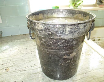 Antique - Lion Motif - Silver Plate Ice Bucket with lid - Lion with Ring on both sides - Original Patina - Very Old and Rare - Bell Stamp