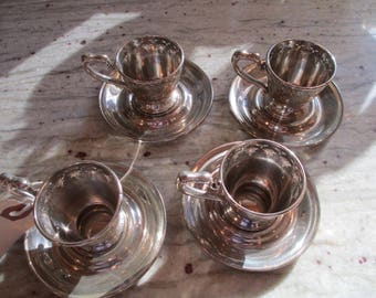 Silver - Sterling, 9.25, Demi Tass Cup Holders and Saucers - Set of Four 9.25 Sterling with Beautiful Eyelet Cut Outs - FREE SHIPPING!