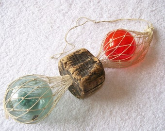 Vintage made in Japan Japanese glass ball fish net floats