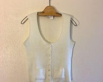 Vintage Ivory Knit Button up Sweater Vest