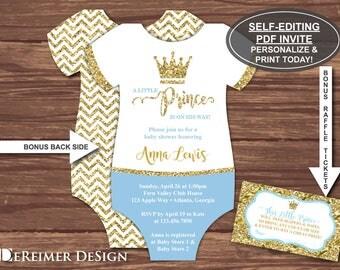 Little Prince Baby Shower Invitation, Prince Invitation, Baby Blue, Blue, Gold, Glitter, Self-Editing PDF Invite, BONUS Diaper Raffle File
