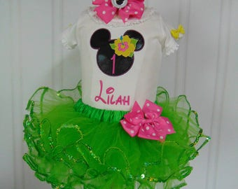 Minnie Mouse luau birthday Outfit- Minnie Themed Luau Onesie and Tutu Birthday Outfit. Cute Outfit Ages 6 Months to 4 Toddler