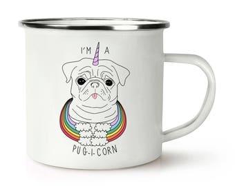 I'm A Pugicorn Rainbow Retro Enamel Mug Cup