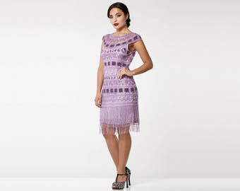 US14 UK18 AUS18 EU46 Lilac Flapper Beverley Fringe Dress 20s Great Gatsby Deco Rehearsal Dinner Bridesmaid Wedding Reception Bridal Shower