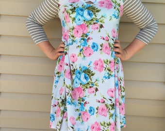 Pink and blue floral Tunic with grey striped sleeves