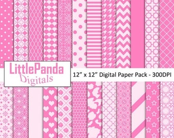 50% OFF SALE Pink digital paper, scrapbook papers, background, commercial use, stripes, polka dots, chevron, stars, hearts - D443