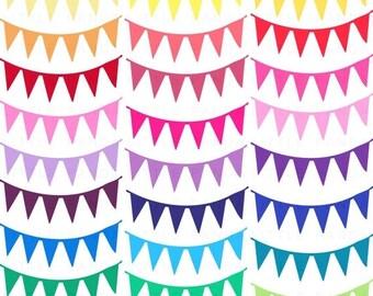 70% OFF SALE Rainbow Digital Pennant Banner Flag Clip Art - Instant Download - C98