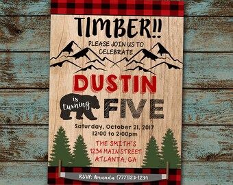 Fifth Birthday Invitation, 5 birthday, Lumberjack Birthday, Boy Birthday, Bear Birthday Invitation, Printable, Plaid, Digital File DIY