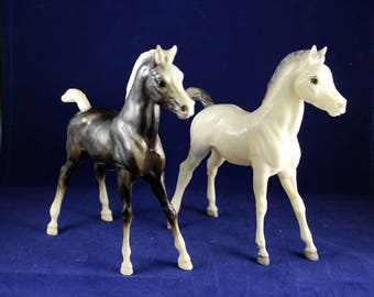 Breyer Colts pair white and black vintage  1966 stamp of authenticity