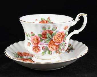 Vintage Royal Albert Bone China Centennial Rose Teacup and Saucer Excellent Condition