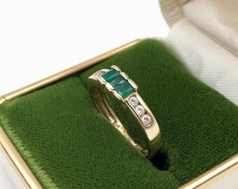 Vintage Italy 14K Gold Emerald Diamond Ring