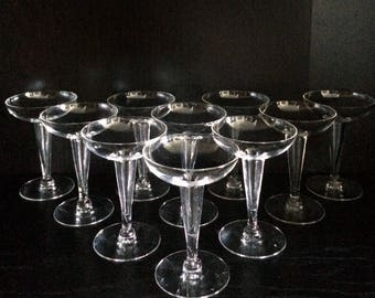 Set of 10 Matching Mid-Century Hollow Stem Champagne Coupe Glasses