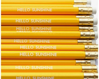 Hello Sunshine Pencil   Stationery   Yellow   Office Supplies   Present Filler   Party Favours   Spring   Happy   Smile   Cheerful   Fun