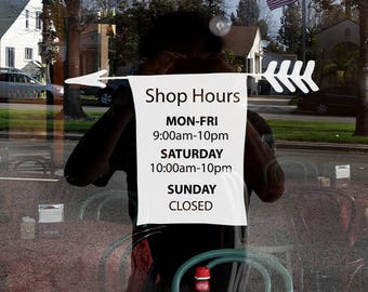 Business, Shop Hours Arrow style window decale