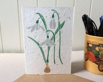 Snowdrops - Plantable Card - Seed Card - British Flower - Floral Notecard - Mothers Day - Blank Inside - Biodegradable - Vegan Envelope