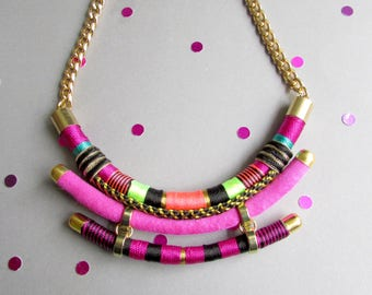 African Rope Necklace,Statement Tribal necklace,African necklace,African jewelry,gift for her,wife gift,ethnic necklace,colorful necklace